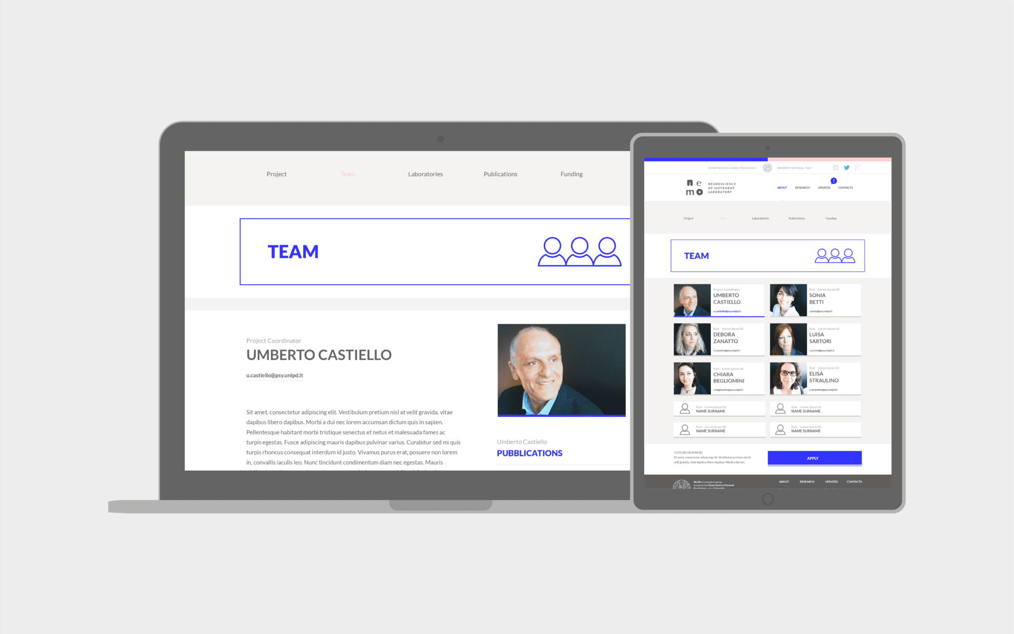 nemo sito web team page
