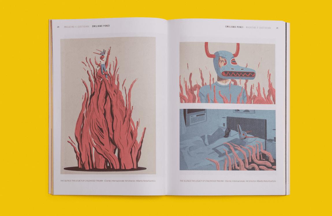 editorial design annual illustri doppia pagina illustrazioni